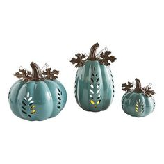 Handcrafted, hand-painted, then topped with wrought iron leaves and a stem, our glazed dolomite pumpkins have leaf-like carvings on the sides. Use separately or together to create a romantic, candlelit night. Tealight Candle Holders, Candle Lanterns, Tea Light Candles, Tea Lights, Teal Pumpkin, Thanksgiving Decorations, Harvest Decorations, Thanksgiving Table, Christmas Decorations