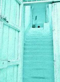 Tiffany blue doors with white washed stairs