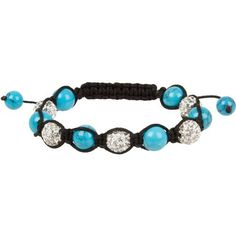 """Heirloom Finds Semi-Precious Shamballa Macrame Bracelet Turquoise and Crystal Pave Ball Beads Heirloom Finds. $14.99. Semi-precious gemstone and crystal pave beads. Arrives Gift Boxed!. Wear alone or with other bracelets. Bracelet is adjustable and will open to fit most wrists, but measures 7"""" closed. 10mm Beads on black cord. Save 67%!"""