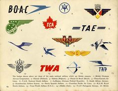 Letterology: Airliner Badges Take Winged Flight These airliner badge designs are featured in a 1955 promotional booklet, Know Your Airliners, published for BP and Shell Oil in England by Brown Knight & Truscott Ltd. As airlines come and go, so do badges. I'm not sure any of these still exist with exception to the TWA logo, originally designed by Raymond Loewy