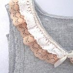 Grey baby singlet top with crochet lace - by 2tonedesigns on madeit