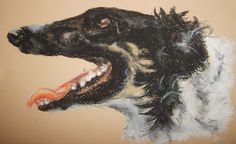 """""""Nemesis"""" - a Borzoi dog (Russian Wolfhound) pet portrait commission created with soft (chalk) pastels on textured paper - Kelly Goss Art"""