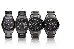 Emporio Armani Ceramic Men's Watch Black Collection – 4 Styles!