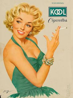 Kool Cigarettes ad with blonde girl in green dress