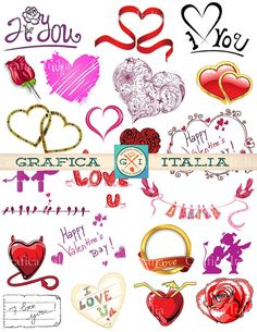 VALENTINE CLIPART 47 Images Digital Download Clip Art Craft Supplies Valentine's Day Hearts, Love Romance Designs by graficaitalia