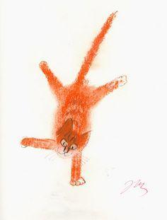 Józef Wilkon - Kot by laura Crazy Cat Lady, Crazy Cats, Landscape Illustration, Illustration Art, Cat Illustrations, The Night Cat, Photocollage, Orange Cats, Ginger Cats