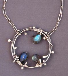 "Sterling ""Leafy Ring"" pendant with labradorites  Jewelry by Mirinda Kossoff"