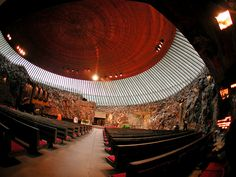 Temppeliaukio Church, Finland. Underground church. A lovely echo in here.