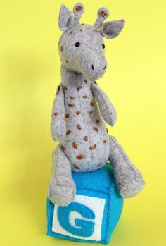 Completely hand sewn, this shy little giraffe is the perfect no-machine project. Very simple to make, he will delight everyone and provide the perfect portable project. Finished giraffe – Approx 9″ high.