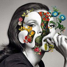 Les Collages colorés de Visages fleuris de Marcelo Monreal (6)