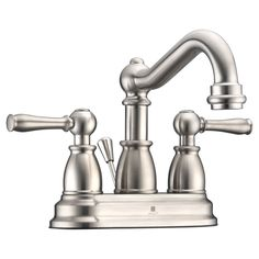 Anzzi Edge Series 4-inch Centerset 2-handle Mid-arc Bathroom Faucet in Brushed Nickel (Brushed Nickel), Grey