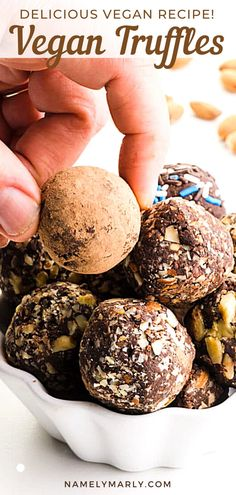 You don't need to wait for another holiday to taste truffles because Vegan Truffles are here, and you can make them anytime of the year! Made with 4 simple ingredients plus special toppings, it's decadent, creamy, smooth, and so good you won't want to stop! These sweet treats are free of refined sugars so they're healthy and delicious! #namelymarly #vegantruffles #truffles #vegansweets
