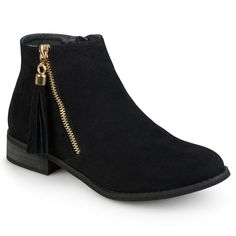 Women's Journee Collection Trista Faux Suede Side Zip Ankle Boots - B Suede Ankle Boots, Black Ankle Boots, Suede Booties, Black Booties, Ankle Booties, Bootie Boots, Shoe Boots, Women's Shoes, Combat Boots