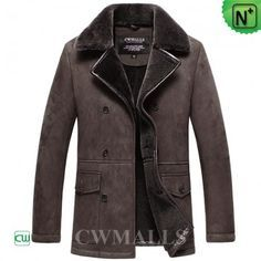 CWMALLS® Custom Retro Sheepskin Pea Coat CW858333 - Men's custom made sheepskin pea coat in a retro style, made with premium sheepskin shearling material, double button closure in front, beautiful shearling notched collar and flap pockets, this sheepskin