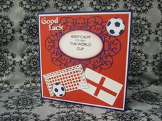 Tattered Lace Country Garden Collection, World cup football card using Tattered Lace Country Garden collection Eltham Oval, Bench (for goals) and interlocking sentiment dies. Flags and football cut using Quickutz dies. Sentiment printed then cut using Nellie Snellen nesting ovals die.