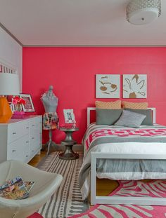 Bold Pink Wall Color Themes and Simple Bed Furniture Sets in Modern Kids Bedroom Decorating Designs Ideas