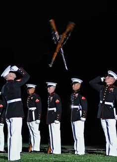 X marks the spot - Marine Silent Drill Platoon rifle exchange by United States Marine Corps Official Page- such an incredible demonstration to go see! Once A Marine, Marine Mom, Us Marine Corps, Marine Barracks, Naval, Men In Uniform, Military Life, Usmc, Armed Forces