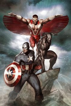 Marvel. Falcon, Black Panther and Captain America.