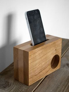 iPhone Amplifier - iPhone Speaker - Desk Accessories - Office Decor - iPhone Dock - Phone Station - Portable Speaker - Mobile Accessories **This picture is a representation of the piece you will receive, please note that each will have its own distinct wood grain, natural coloring, markings, and characteristics This iPhone sound amplifier enhances the audio playing from your phone without the use of any electronics or batteries. Simply place your iPhone in the slot on the top and our…