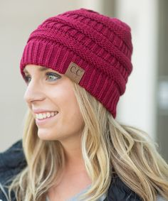 This Wine Ribbed Beanie is perfect! #zulilyfinds