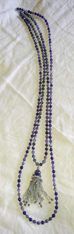 Long Amethyst Tassel Necklace