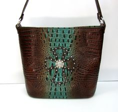 Shown with trim and blingy concho option - Aqua & Brown Embossed Croc Concealed-Carry Purse Velcro Sheets, Concealed Carry Purse, Tote Purse, Crocs, Carry On, Brown Leather, Aqua, Guns, Holsters