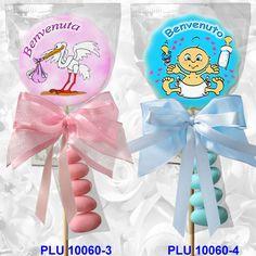 Bomboniera lecca lecca con cicogna o bebé in confezioni raffinate complete di fiocchi e confetti