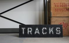 Vintage 1920's Railroad Tracks Sign With Original Glass Marble Cat Eyes $265.00