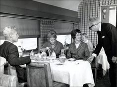 Image detail for -A dining car in the middle of the 20th century, such as on the Santa Fe Railroad's Super Chief, featured tables topped by white cloths, china and glassware, and ...