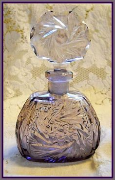 "Amethyst purple Czech perfume bottle with pinwheel cuttings. 5-1/2""h. #vintage #scent"