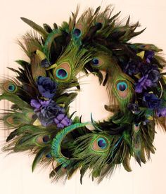 Peacock Feather Wreath Teal Royal Blue Home Decor Original Peacock design Last One Made in Michigan Peacock Wreath, Peacock Crafts, Feather Wreath, Peacock Decor, Peacock Colors, Feather Crafts, Feather Art, Peacock Feathers, Feather Decorations