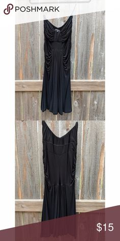 """Black Strapless Dress (OBO) Used: Gently worn black strapless dress from Metropark Fit: Flattering fit for most Fabric: Stretchy soft fabric lays comfortably on hips and thighs, will not ride up while walking or dancing, not see through Length: I'm 5'3"""" and the end of the dress stopped just above my knee  Size: S (could fit someone who usually wears an extra size small, I'm 125 lbs and it was a perfect fit)  Price: All prices are negotiable, let's make a deal Metropark Dresses Strapless"""