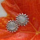 Mondstein blau weiß rund Blüte Stern Ohrringe Ohrstecker 925 Sterling Silber neu