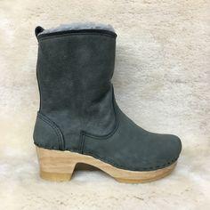 "Gray Shearling - 7"" Clog Booties - Mid Heels"