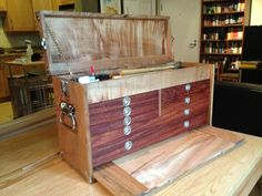 Tool box in cherry and rosewood with machinist chest hardware