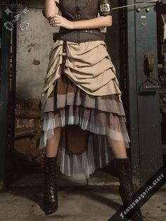 (Tax Free in US) Layered Steampunk style skirt  - 84 cm long at the back, shorter at the front