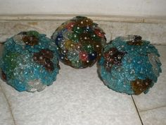 Lot of 3 Vintage Carved Glass Beads Flowers shade net  for chandelier parts