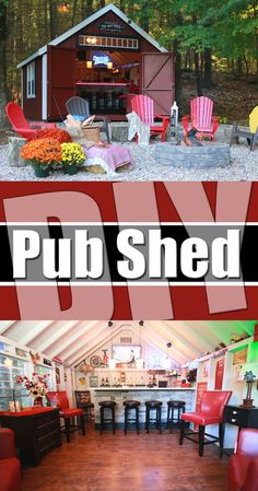 DIY Pub Shed Click the photo to see more of this awesome project! Kloter Far pub Backyard Bar, Backyard Sheds, Outdoor Sheds, Outdoor Spaces, Outdoor Living, Outdoor Decor, Outdoor Tiki Bar, Outdoor Bars, Modern Backyard
