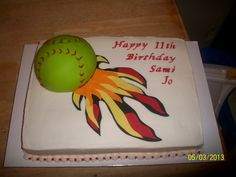 - Softball flame cake