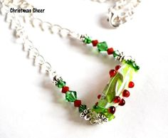 Christmas Necklace Red Green Lampwork Bead with Swarovski Crystals  | bluemorningexpressions @Sara Eriksson k - Jewelry on ArtFire