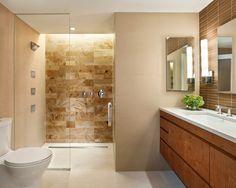 Badezimmer Fliesen Creme Braun Dusche Glaswand Holz Unterschrank Badezimmer  Creme, Badezimmer Fliesen Beige, Ebenerdige