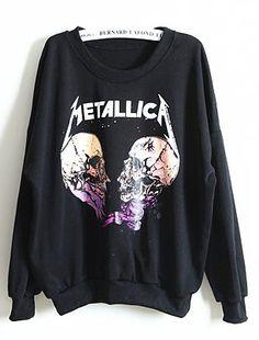 Black Long Sleeve METALLIC A Skull Print Sweatshirt