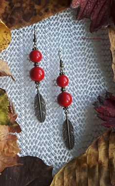 Handmade earrings with red jadeite and red marble