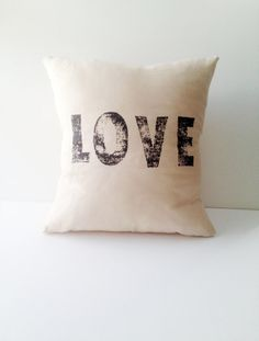 Quote Pillow Handstamped Linen Inspirational Quote by CasaAndCo