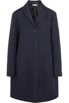 Jil Sander Satin-trimmed wool and silk-blend coat | NET-A-PORTER