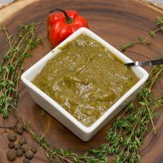 Jamaican Jerk Seasoning Paste Recipe with pepper, allspice, thyme, scallions, ground nutmeg, brown sugar, salt, pepper, vinegar, garlic, oil