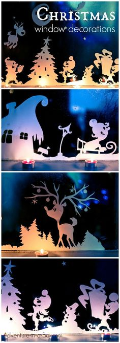 Crafts For Adults DIY Printable Christmas Window Decorations. Cut, print and decorate your windows with silhouettes of a winter wonderland! Fun Christmas craft for adults and kids. Christmas Crafts For Adults, Christmas Activities, Christmas Printables, Winter Christmas, Holiday Crafts, Christmas Holidays, Christmas Ornaments, Holiday Fun, Christmas Gifts