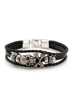 Multi Strand Beaded Skull Leather Bracelet