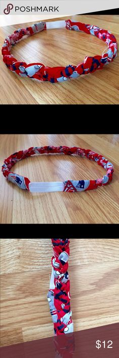 Handmade NFL New England Patriots boho headband I use cotton fabric, braided in traditional style it's slightly frayed which gives it the perfect hint of a boho look.  Elastic in the back.. I love wearing them .Every girl has those days where their hair just doesn't seem to want to cooperate. Those days where your bangs won't hang the right way, when you just can't smooth that bump on the top of your head. So what are you supposed to do?  How about a headband?! Not just any headband though…