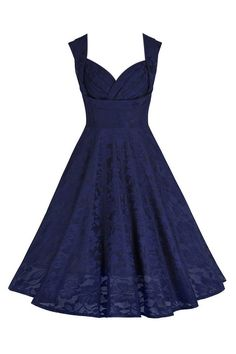 Navy Blue Crossover Bust Lace Embroidered Swing Dress